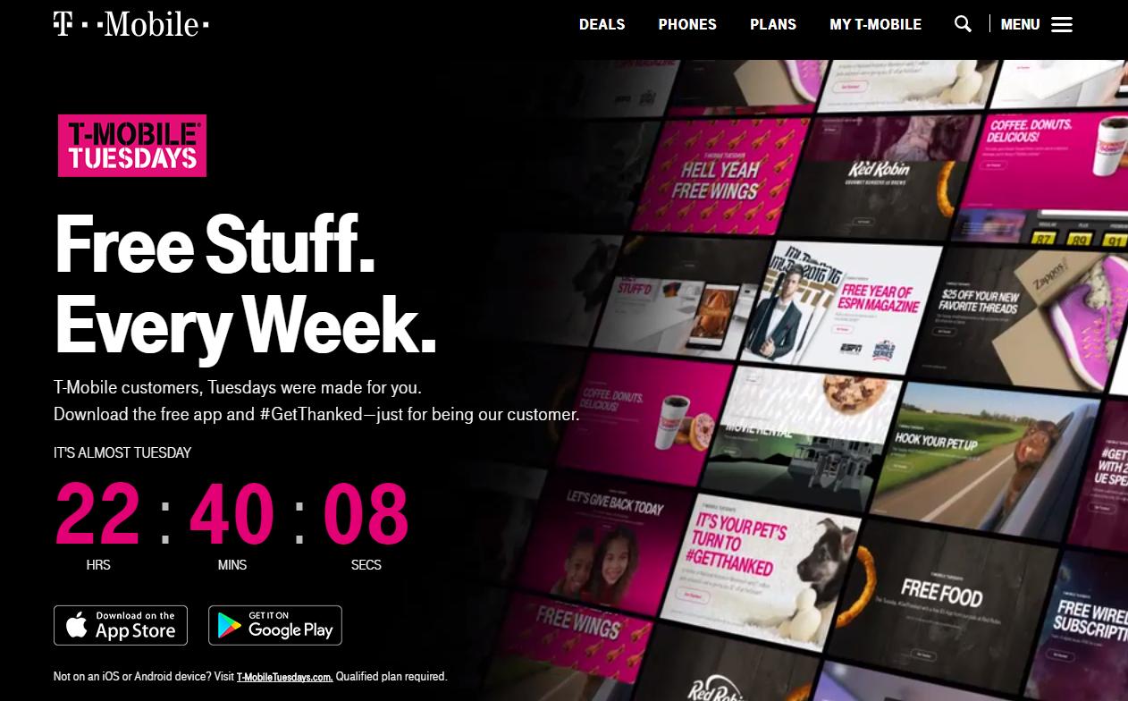 Скриншот сайта программы лояльности T-Mobile Tuesdays - классический завлекающий лендинг